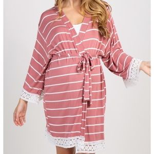 Pink blush mauve maternity robe medium